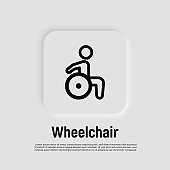 Thin line icon of disabled in wheelchair. Vector illustration.