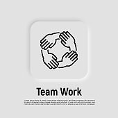 Teamwork, hands holding each other by wrist. Thin line icon. Collaboration, support, solidarity, effective work in group. Vector illustration.