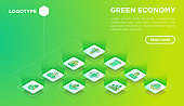 Green economy web page template with thin line isometric icons: financial growth, green city, zero waste, circular economy,  global consumption. Vector illustration for environmental issues.