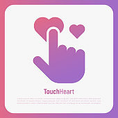 Human hand is pushing on heart, love symbol for wedding, valentine's day. Hand gesture. Thin line vector illustration.
