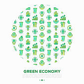 Green economy concept in circle with thin line icons: financial growth, green city, zero waste, circular economy, green politics, global consumption. Vector illustration for environmental issues.