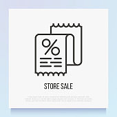 Store sale: shop receipt with percentage sign. Thin line icon. Modern vector illustration.