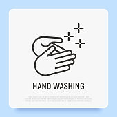 Hand washing, healthy habit for hygiene prevention. Thin line icon. Vector illustration.