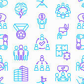 Teamwork seamless pattern with thin line icons: relay race, brainstorm, success, meeting, idea share, collaboration, joint project, unity, support, delegation, bonus. Modern vector illustration.