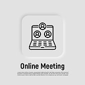 Online meeting thin line icon. Video call on laptop. Webinar, online conference, distant learning. Vector illustration.