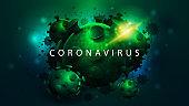 Coronavirus, dark poster with large green coronavirus molecules