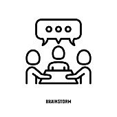Collaboration, teamwork thin line icon: people at brainstorm. Successful communication. Modern vector illustration.
