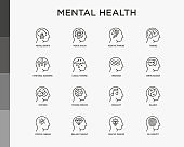 Mental health thin line icons set: mental growth, negative thinking, emotional reasoning, logical plan, obsession, inner dialogue, balance, brilliant thought, self identity. Modern vector illustration.