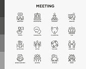 Meeting thin line icons set: speaker, communication, collaboration, teamwork, brainstorm, online meeting, conference, presenter, business agreement, gathering, interview. Vector illustration.