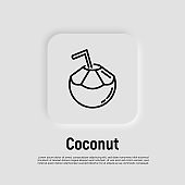 Coconut drink with straw thin line icon. Exotic fruit. Healthy organic food. Vector illustration.