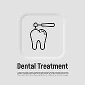 Dental treatment thin line icon. Drilling of caries for filling. Dentistry. Vector illustration.