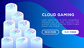 Cloud gaming web page template with thin line isometric icons: play on laptop, 120 FPS, low-latency gameplay, gamepad, wi-fi,  live streaming, game controller, 5G technology. Vector illustration.