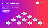 Cloud gaming web page template with thin line isometric icons: play on laptop, 120 FPS, low-latency gameplay, gamepad, wi-fi, instant installation, live streaming, 5G technology. Vector illustration.