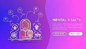 Psychologist analyzes mental health web page template. Thin line icons: emotional reasoning, logical plan, obsession, inner dialogue, brilliant thought, self identity. Vector illustration