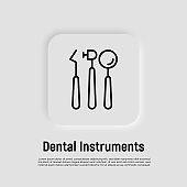 Dental equipment thin line icon. Dentistry, stomatology. Vector illustration.
