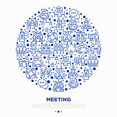 Meeting concept in circle with thin line icons: speaker, communication, collaboration, teamwork, brainstorm, online meeting, conference, presenter,  gathering, interview. Vector illustration.