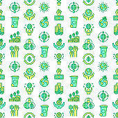 Green economy seamless pattern with thin line icons: financial growth, green city, zero waste, circular economy, anti-globalism, global consumption. Vector illustration for environmental issues.