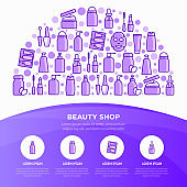 Beauty shop concept in half circle with thin line icons: skin care, cream, gel, organic cosmetics, make up, soap dispenser, nail care, beauty box, deodorant, face oil, sheet mask. Vector illustration.