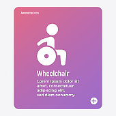 Flat icon of disabled in wheelchair. Vector illustration.