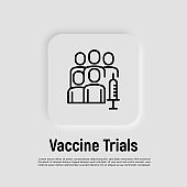 Vaccine trials thin line icon. Group of people and syringe. Testing, development, engineering of medicament. Vector illustration.