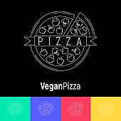 Vegan pizza with pepper, broccoli, tomatoes. Logo with thin line icons for menu design of restaurant or pizzeria. Vector illustration.