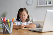 Portrait of happy small pupil learning at home. Smart kid schoolgirl looking at camera, studying remotely online