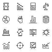Analytics line icon set.