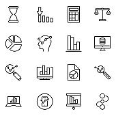 Analytics line icon set.