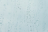 Horizontal background of some rain drops over a crystal surface