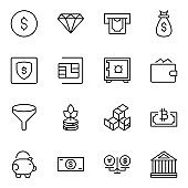 Finance design icons set.
