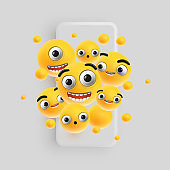3D and different kinds of emoticons with matte smartphone, vector illustration