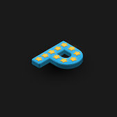 3D bold character 'P' with stars, isometric vector illustration