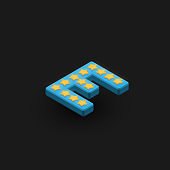 3D bold character 'E' with stars, isometric vector illustration