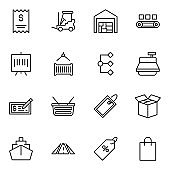 Commerce line icon set.