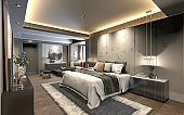 3D Render of bedroom in luxury hotel