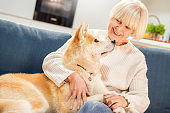 Retirement. Senior woman sitting at home hugging siberian husky smiling happy close-up