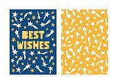 Best wishes- greeting card template with hand drawn shooting stars. Classic blue and yellow