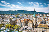 Zurich skyline panorama with river Limmat, Switzerland