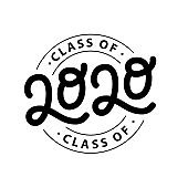 Graduate 2020. Class of 2020. Lettering logo stamp. Graduate design yearbook. Vector illustration.