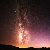 Milky Way with Flying Meteor at Death Valley National Park, California, USA