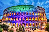Illuminated Colosseum at Dusk, Rome, Italy