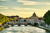 St. Peter's Cathedral in Rome at Sunset, Italy