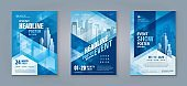 Business Flyer Poster Design Set. Layout Template, Abstract Blue Geometric Triangle