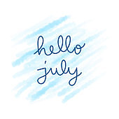 Hello July hand lettering with blue watercolor
