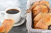Sweet homemade cottage cheese buns with sugar and coffee cup