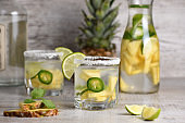 Spicy Margarita. Tequila Infused on Slices of Fresh Pineapple, Lime,  hot jalapeno