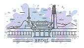 seoul city, line art with watercolor splash
