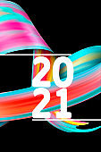 Happy New 2021 Year. Holiday wavy fluid multicolored lines and lettering on black background, vertical flyer