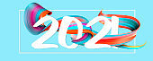 Happy New 2021 Year. Holiday wavy fluid multicolored lines and lettering on blue background, horizontal flyer