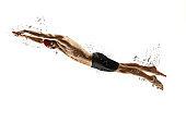 Caucasian professional sportsman, swimmer training isolated on white studio background